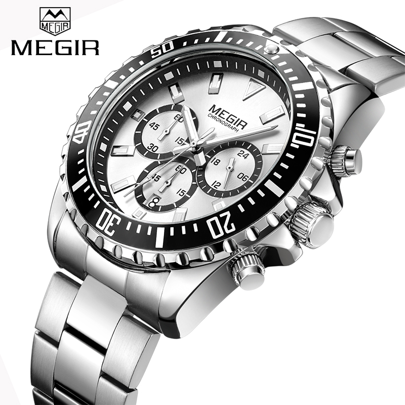 New MEGIR Watches Mens Top Luxury Brand Steel Strap Quartz Wristwatch Men Military Army Sport Clock Chronograph Male Watch 2064 megir mens sport watch chronograph silicone strap quartz army military watches clock men top brand luxury male relogio masculino