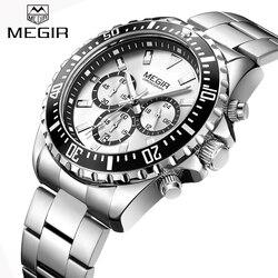 New MEGIR Watches Mens Top Luxury Brand Steel Strap Quartz Wristwatch Men Military Army Sport Clock Chronograph Male Watch 2064