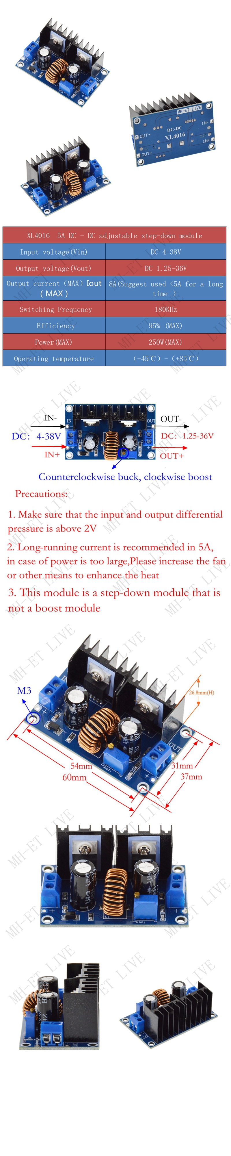 XL4016 PWM Max 8A 200W DC-DC модуль ldo понижающего преобразователя Питание регулируемый 4-40V до 1,25-36 V понижающий модуль