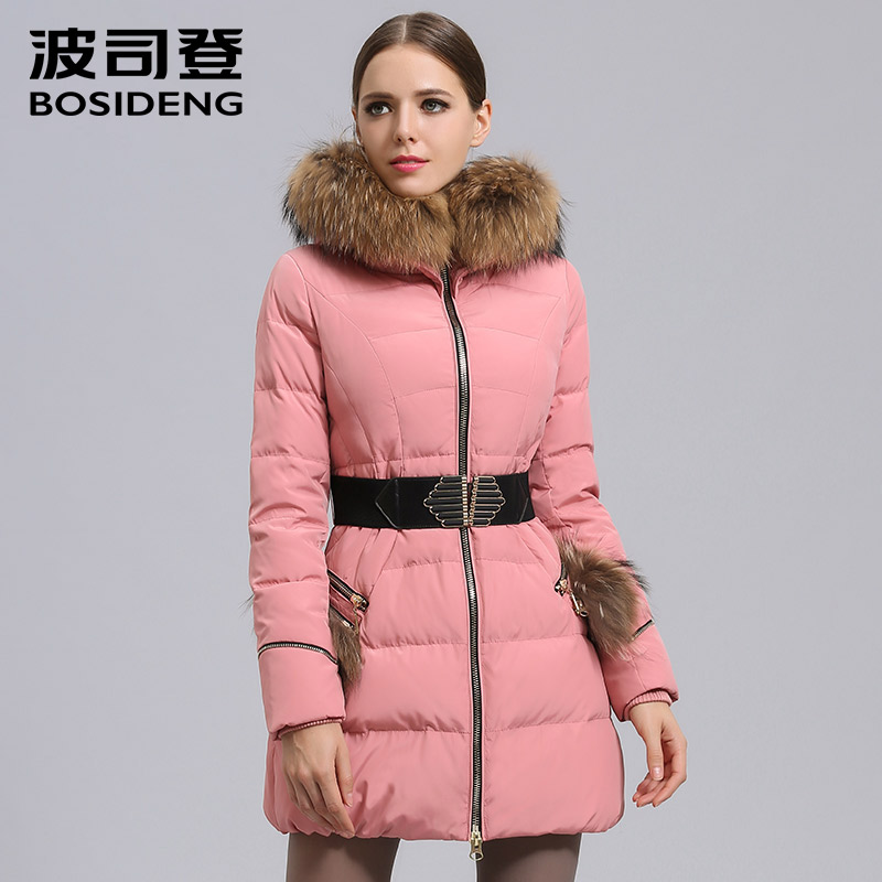 BOSIDENG Mujer Winter Jacket Womens clothing sashes Duck   Down     coat   Luxury Large Nature Raccoon Fur Hooded winter   coat   b1401168