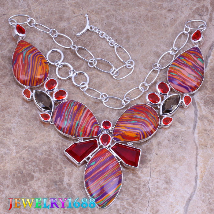 Marvelous Multicolor Natural Stone 925 Sterling Silver Grade Necklace L634