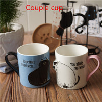 Valentine's gift cartoon lovely heart couple cat mugs cup ceramic water cup 3d tilt head cat coffee cup with gift box packing
