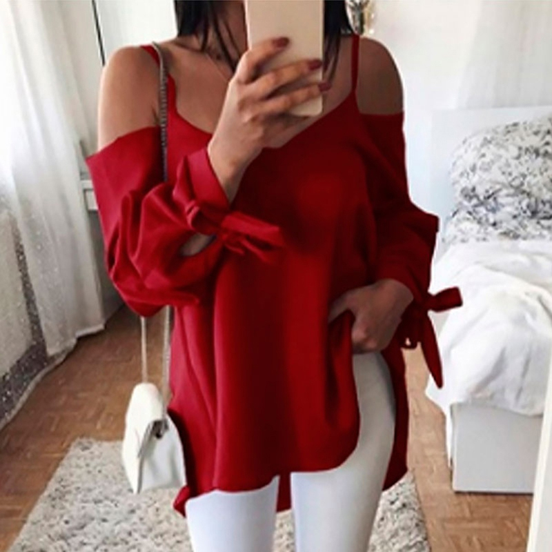 Flight Tracker Women Top Female Blusa 2019 Women Sexy Sling Off Shoulder Blouse Long Sleeve Shirt Casual Loose Solid Color Bandage Blouses Blouses & Shirts