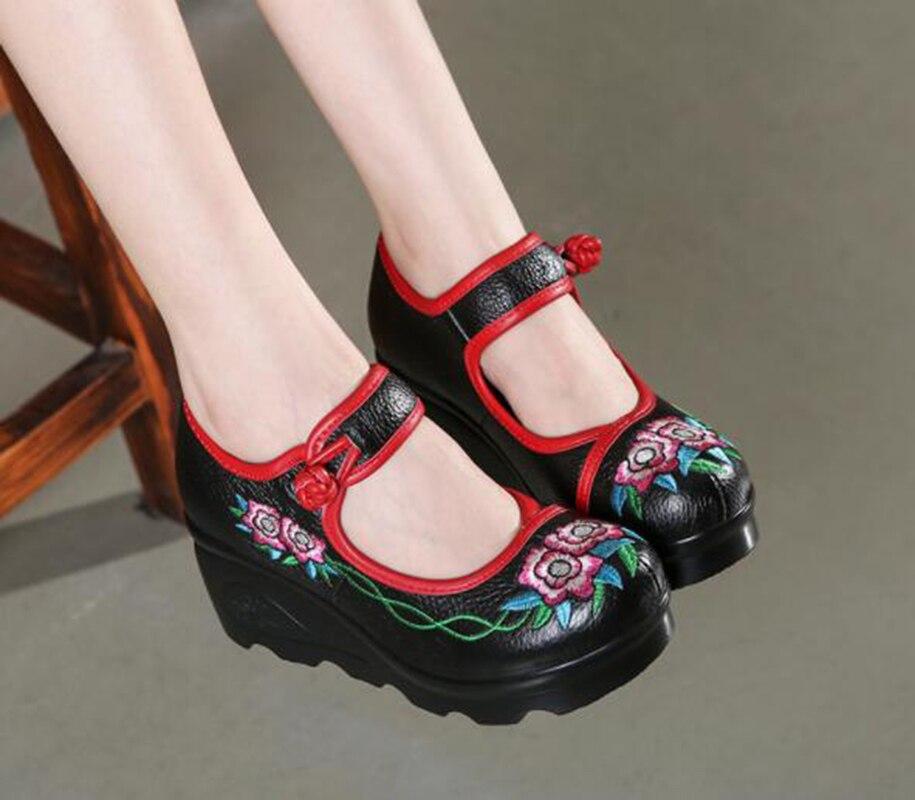 cb42a6f77 Bordado Étnico Grueso Bajos Cuña Flor Black Solos Cuero Femenino De Estilo  Femeninos purple Inferior Zapatos gray rnW1wTrqpR