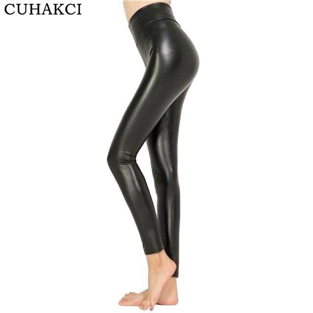 CUHAKCI 2017 dropshipping Livre Mulheres Hot Sexy Preto Olhar Molhado Faux Leather Leggings Brilhantes Magro Calças Plus Size S M L XL XXL