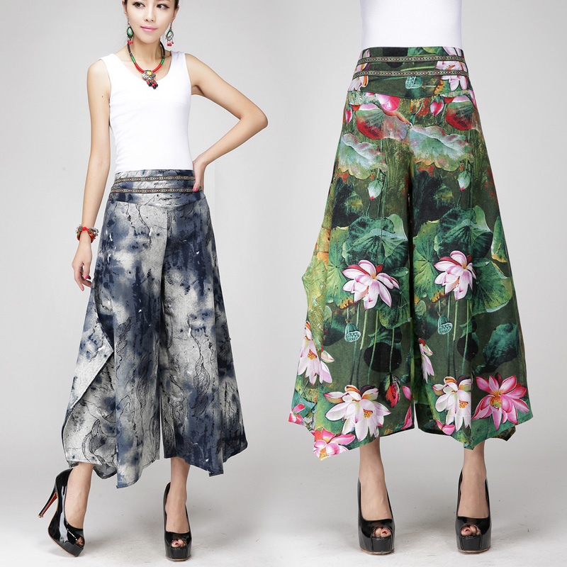 Summer spring women's female Print Sashes retro flax broad-legged skirt   pants   ladies loose Ankle-Length   Wide     Leg     pants   trousers