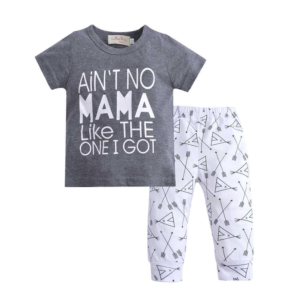 85c5c35ef ... 2019 Summer Newborn Baby Boy Clothing Cotton Letter T-shirt Tops + Pants  2 pcs ...