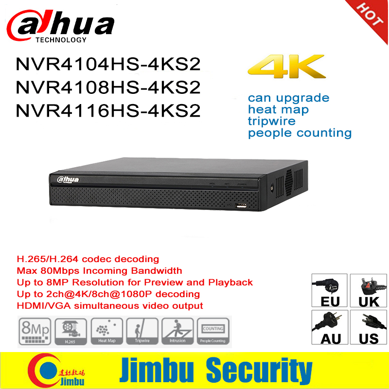 Dahua NVR P2P 4K Network Video Recorder NVR4104HS-4KS2 NVR4108HS-4KS2 NVR4116HS-4KS2 4CH 8CH 16CH 1U 4K & H.265/H.264 Tripwire dahua nvr616r 128 4ks2 128 channel ultra 4k h 265 network video recorder nvr free shipping