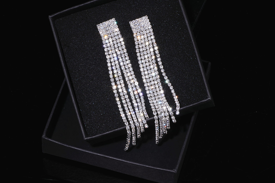 HTB1sWvEa9fD8KJjSszhq6zIJFXaK - New Silver Color Rhinestone Crystal Long Tassel Earrings for Women Bridal Drop Dangling Earrings Brincos Wedding Jewelry WX006