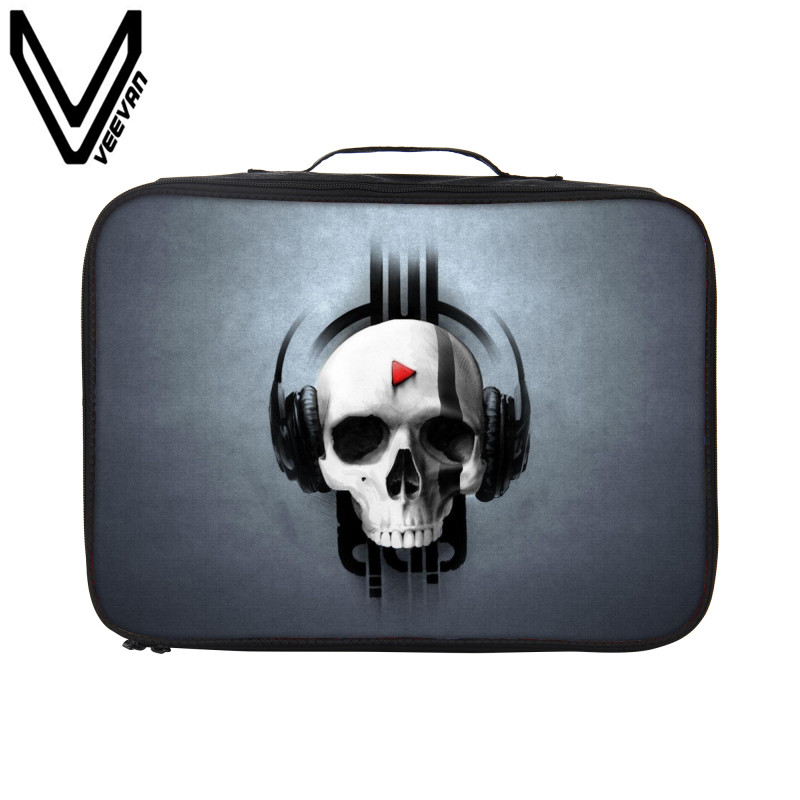 VEEVANV Brand 2017 Waterproof Rock Music Headphones Pattern 3D Print Travel Bags for Women New Men Hand Luggage for Clothes Bags