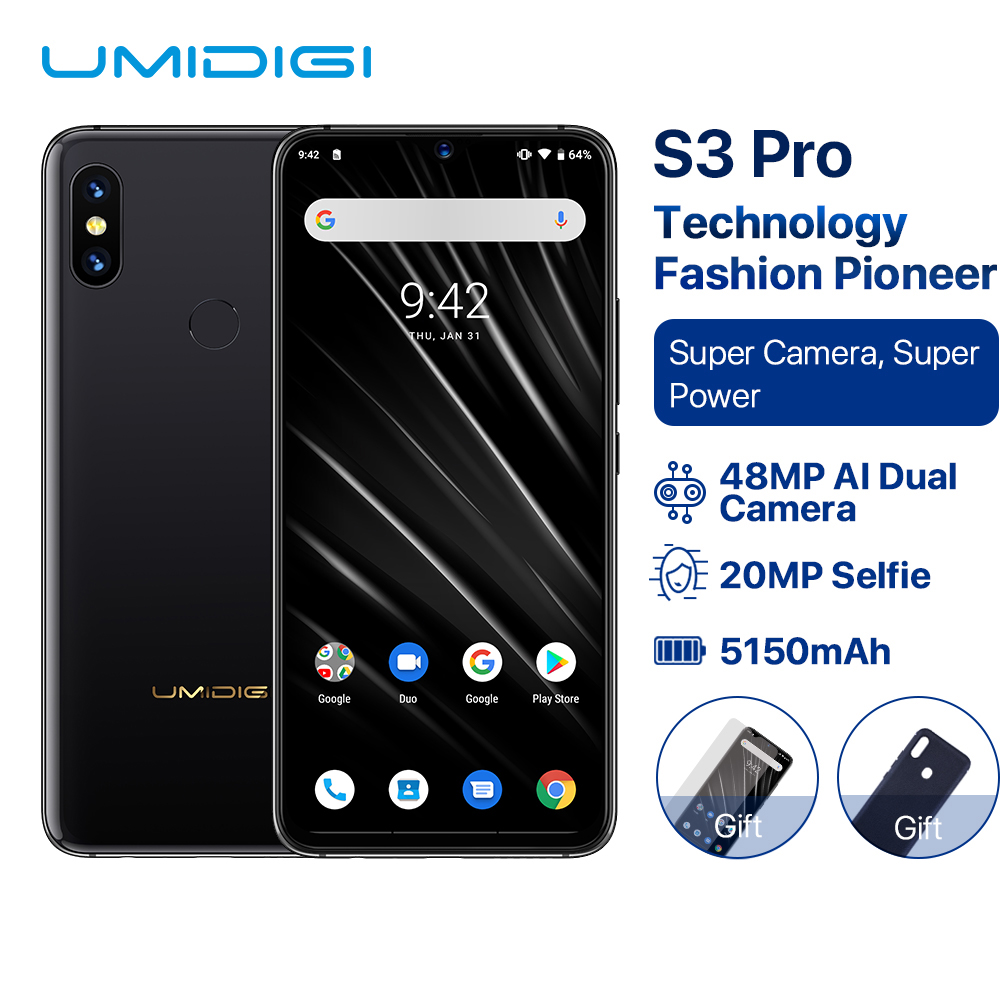 "UMIDIGI S3 PRO Android 9.0 48MP+12MP+20MP Super Camera 5150mAh Big Power 128GB 6GB 6.3"" FHD+ NFC Ceramic Global bands Smartphone"