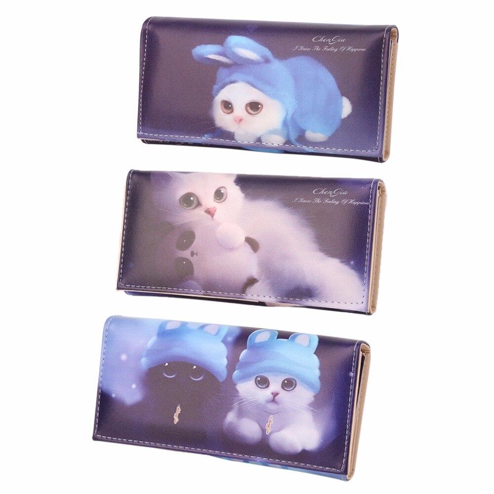 THINKTHENDO Women Lady Cat Pattern Leather Wallet Long Card Holder Purse Purse 2018 New Fashion