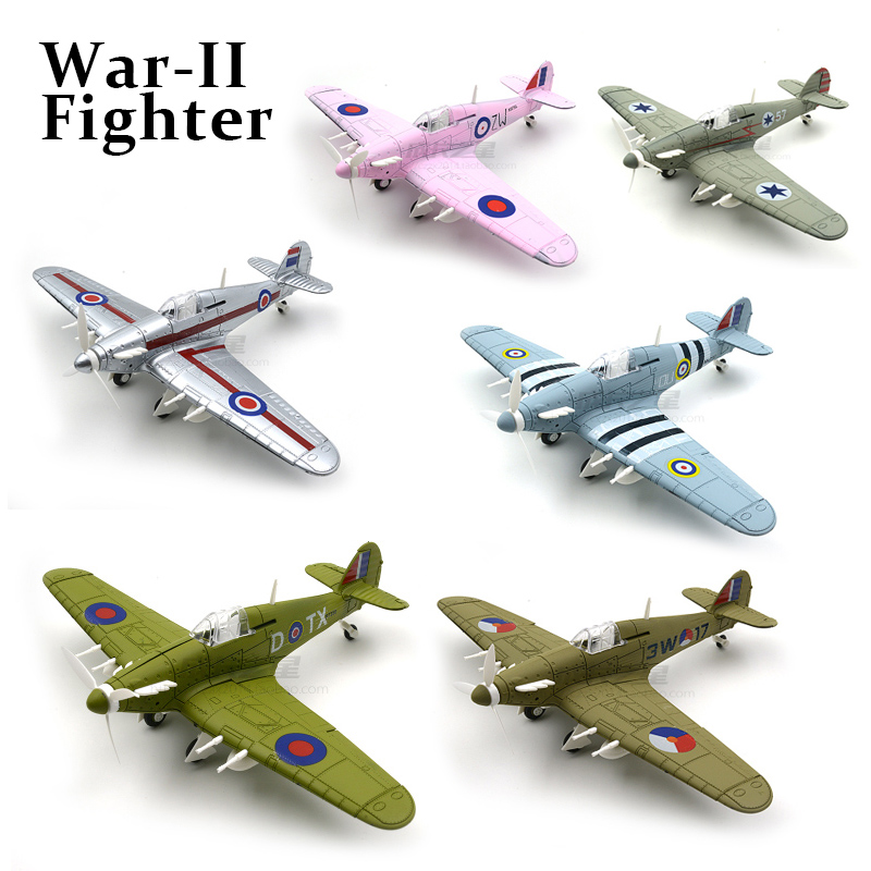 6 Colors 1/48 4d Assemble military Model Toys building sets airplane Hawker Hurricane Fighter Diecast War-II aircraft plane image