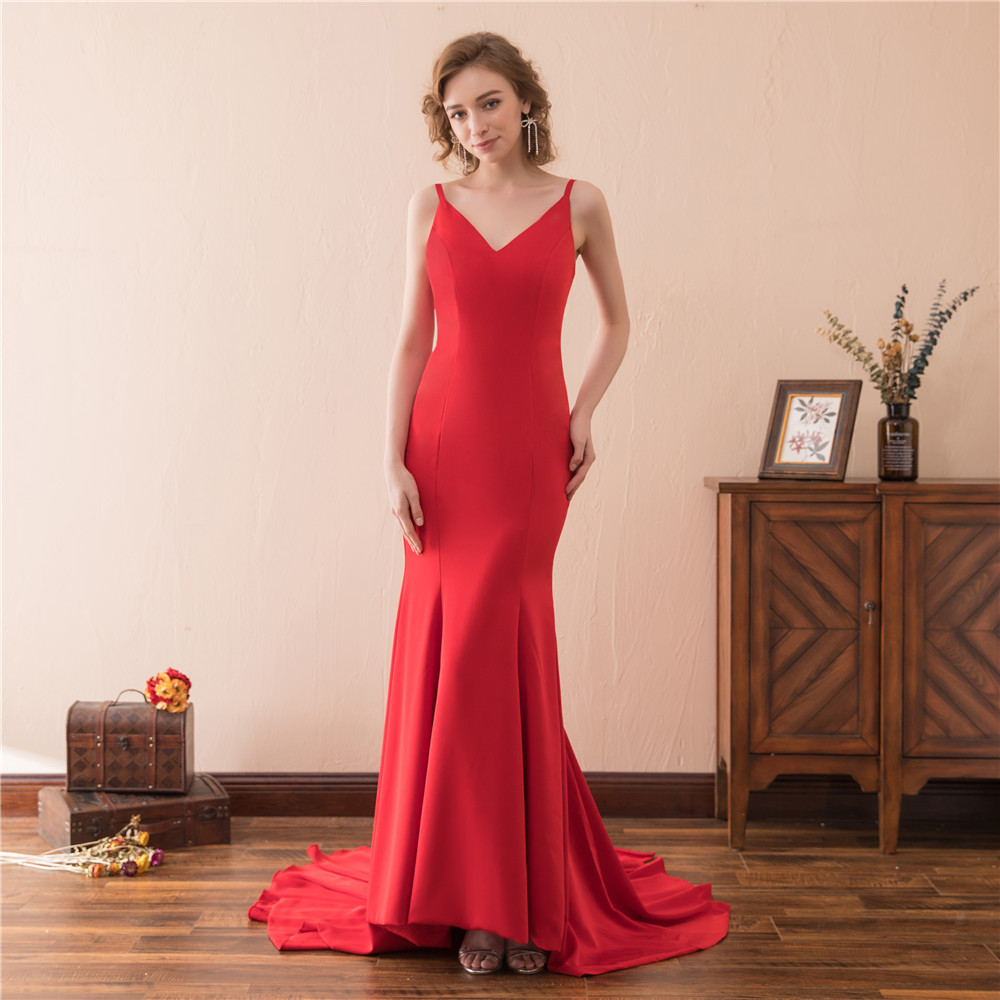 Bealegantom 2019 New Sexy Red Long   Prom     Dresses   V-Neck Beaded Plus Size Formal Evening Party Gown QA1586