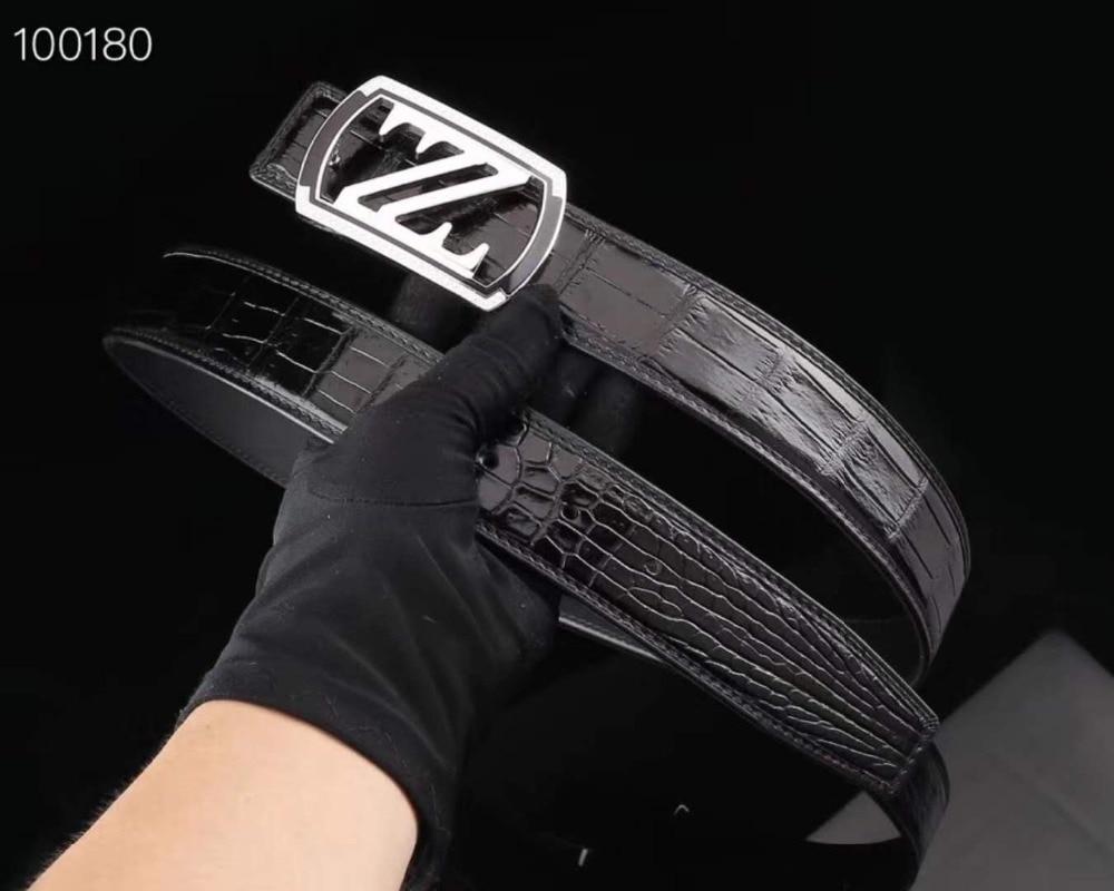 Apparel Accessories 100% Real Genuine Crocodile Belly Skin Men Belt Top Luxury Quality Crocodile Skin Fashion Men Dress Belts Black Brown Color Matt