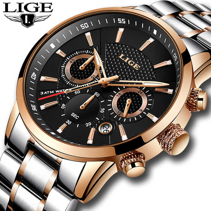 LIGE Top Brand Luxury Mens Watches Waterproof Military Sport Watch Stainless Steel Multi-function Quartz Clock relogio masculino