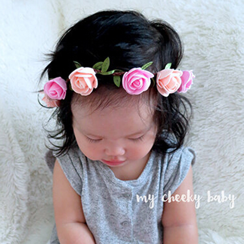 Rose Headband Kids Hairband Bohemian Flower Crown Tiara Floral Headwear Ajustable Bandeau Newborn Hair Accessories 1 PC
