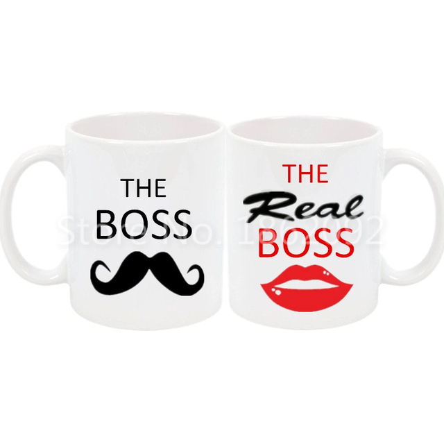 funny the boss the real boss mug set novelty his her couple coffee