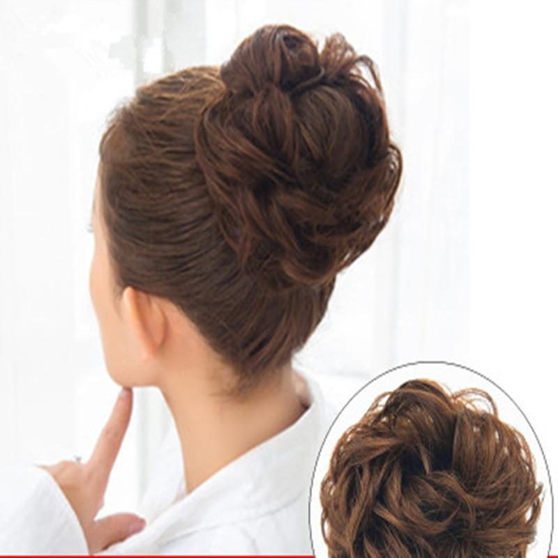 Women Curly Chignon Hair Clip In Hairpiece Extensions Bun for Brides 4 Colors Synthetic High Temperature Fiber Chignon