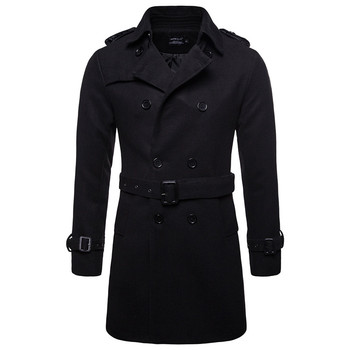 AOWOFS Winter Men Wool Pea Coats Black Mens Overcoat Short Trench Coats Male Double Breasted Pea Coat High Quality Wool Clothing