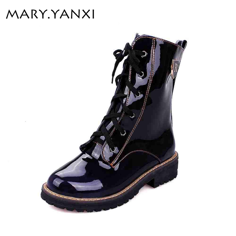 Spring/Autumn women boots Square heel Motorcycle boots Mid-Calf Casual Martin boots Patent Leather LaceUp Knight boots size34-43 new arrival superstar genuine leather chelsea boots women round toe solid thick heel runway model nude zipper mid calf boots l63