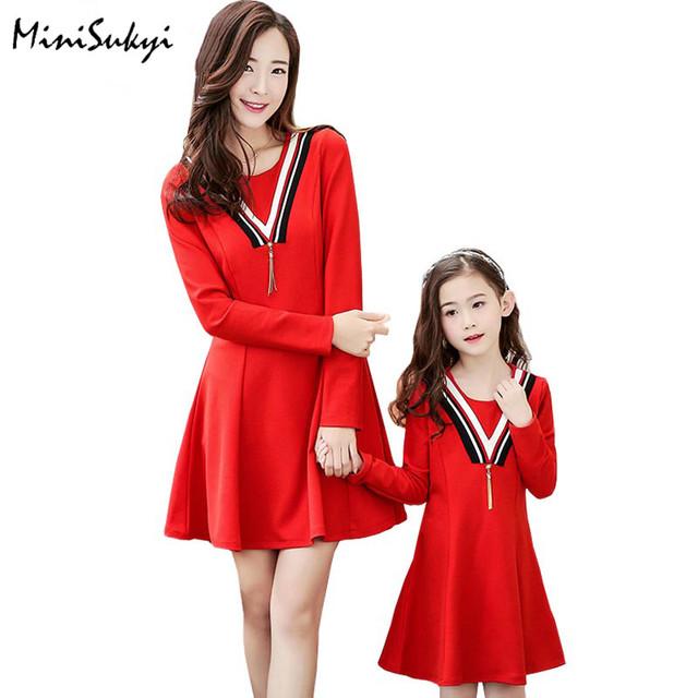 Hija de la madre vestidos 2017 Familia de La Manera Trajes A Juego vestido de Otoño Primavera de Manga Larga ropa de la madre y la hija