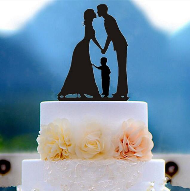 Family Silhouette Kissing Bride and Groom wtih A Boy Wedding Cake ...