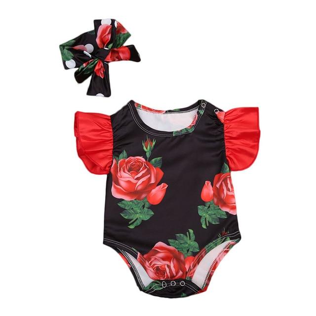 30db1d850a74 2017 Cute Newborn Kids Baby Girls Clothes Summer Sleeveless Floral Rose  Outfits Jumpsuit Romper Playsuit Headband Set