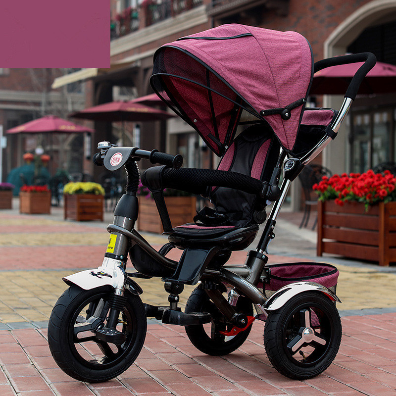 Geniune Swivel Seat Full Sunshed Baby Tricycle Trolley Baby Child Stroller Baby Carriage Bike Bicycle For 6 Month--6 Years Old baby stroller pram bb rubber wheel inflatable tires child tricycle infant stroller baby bike 1 6 years old bicycle baby car