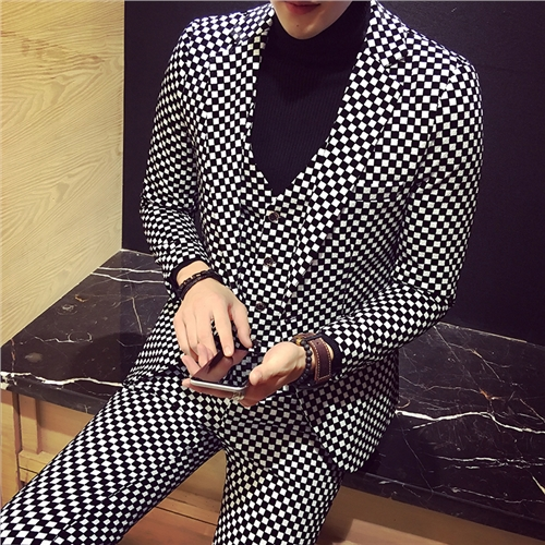 2017 font b Mens b font Plaid Suits Black and White Party Dresses Banquet Dinner Three