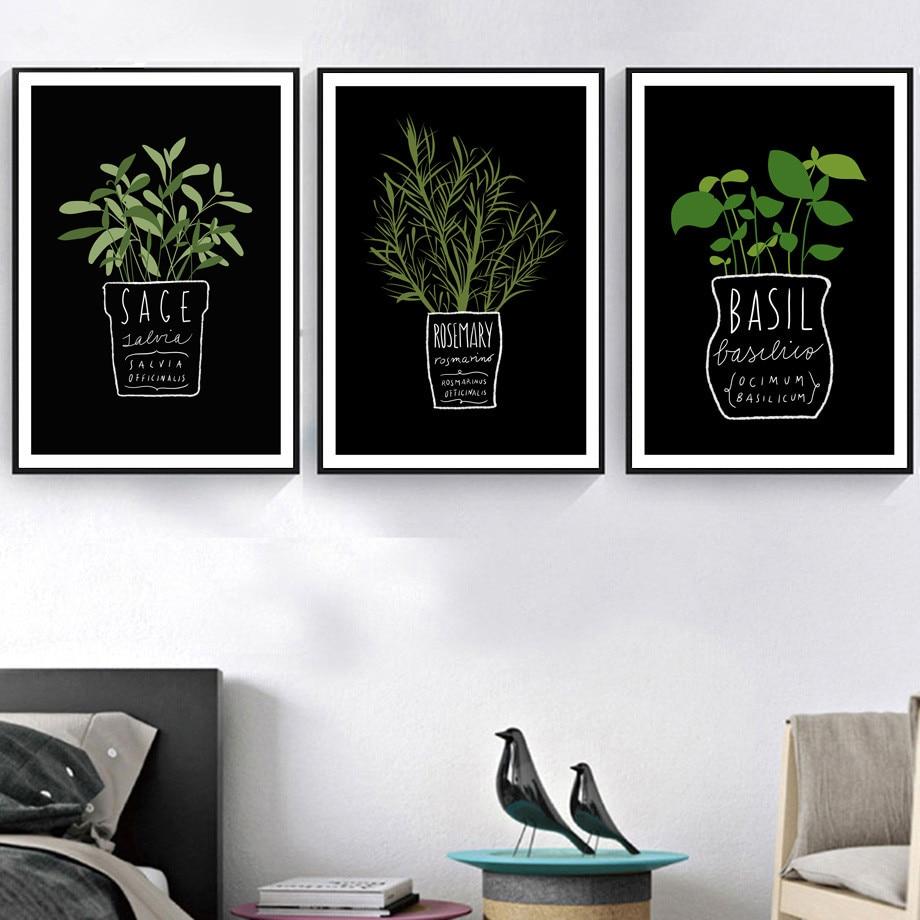 Gohipang холст картины декор Кухня Офис стены в горшке растения и буквы A4 картина искусство печать в скандинавском стиле Модные постеры