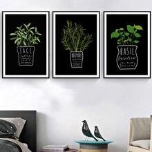 Gohimak imagens de tela, decoração de cozinha, escritório, parede, planta em vaso e letras a4, pintura artística, impressa, estilo nórdico, posteres de moda