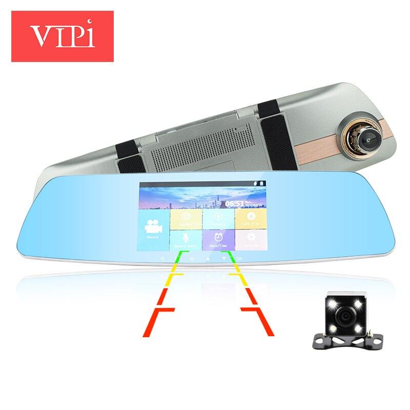 """imágenes para 5.0 """"IPS pantalla táctil de doble lente coche cámara de vista trasera automática espejo dvrs coches dvr registrador de la leva de vídeo dash hd1080p noche visión"""