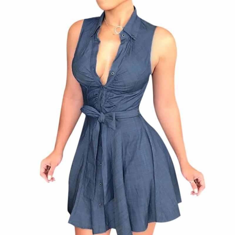Однотонное сексуальное платье без рукавов с v-образным вырезом, эластичным облегающим поясом, на бретельках, без рукавов, модные женские синие платья для девочек