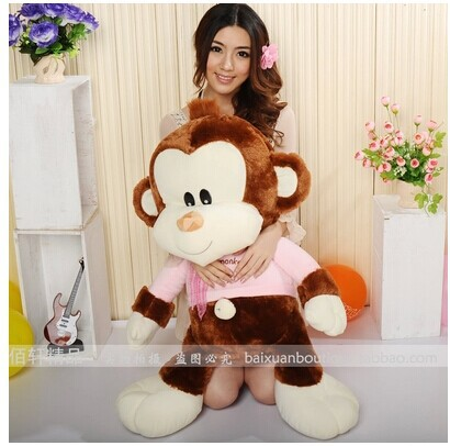 35 inch lovely monkey doll plush toy pink or yellow cloth monkey throw pillow surprised gift w3863 banana shaped plush doll toy with sound effect for pet yellow