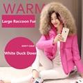 La moda de nueva invierno gran mapache verdadero cuello de piel corto abrigo de para informal de espesor delgado blanco para mujer de la chaqueta de Down Parkas
