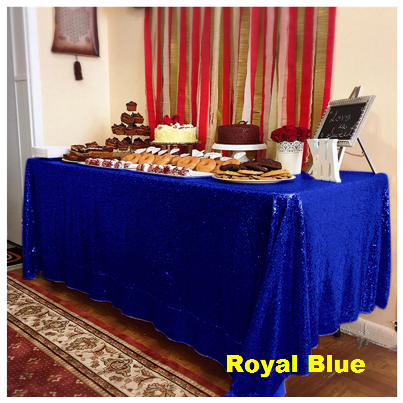 60X102in Royal Blue Sequin Tablecloth Rectangular Glitter Tablecover for Wedding Party Christmas Banquet Decor -63
