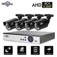 Hiseeu 8CH система камеры видеонаблюдение 4 шт. 4MP Открытый Всепогодный Безопасности Камера 8CH DVR День/Ночь DIY Kit система видеонаблюдения