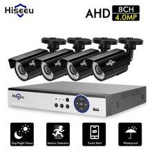 Hiseeu CCTV Camera System 4PCS 4MP Outdoor Weatherproof Security Camera 8CH DVR Day/Night DIY Video Surveillance System kit