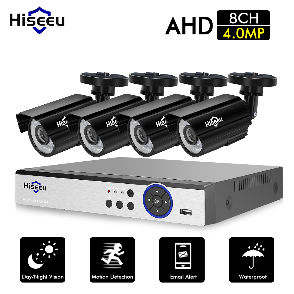 Hiseeu CCTV Sistema di Telecamere 4 pz 4MP Esterna Resistente Alle Intemperie Telecamera di Sicurezza 8CH DVR Giorno/Notte FAI DA TE Sistema di Video Sorveglianza kit