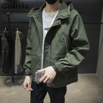 GODLIKE Autumn 2018 new Korean baseball wear men's fashion business casual long sleeve cap cotton jacket    M-3XL