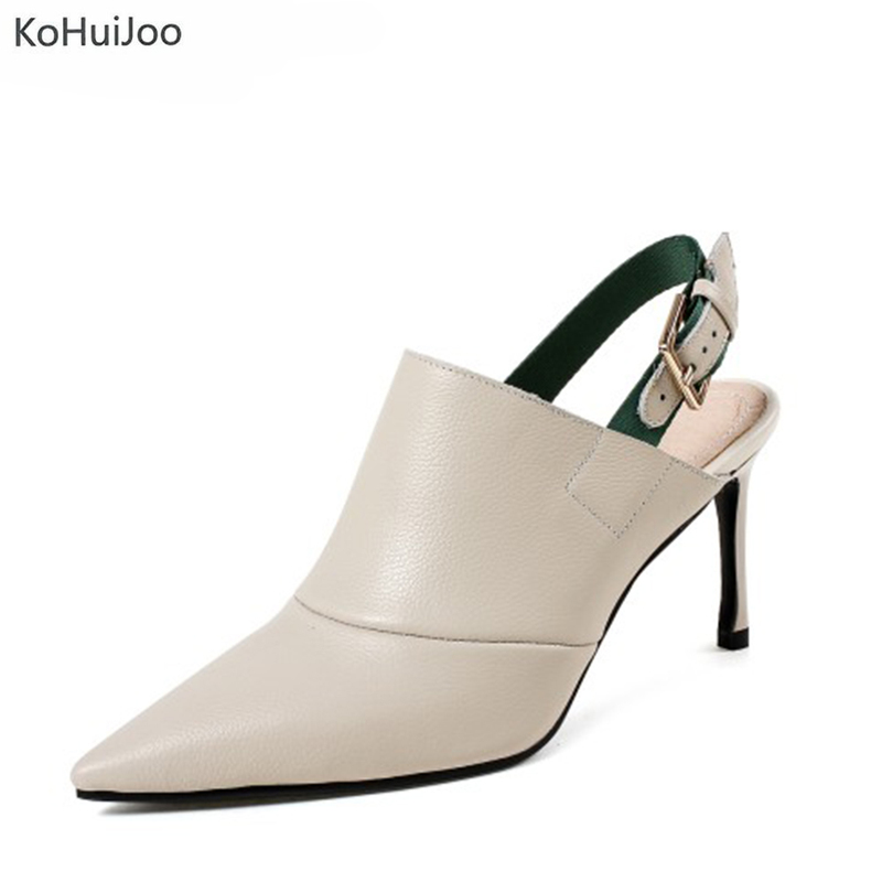 KoHuiJoo 2018 Fashion Genuine Leather Shoes Women Sandals Summer  Beige Black Buckle Strap Pumps Brand Thin High Heel Sandals xiaying smile summer woman sandals women pumps buckle strap high thin heel fashion casual sexy bling rivet rubber women shoes