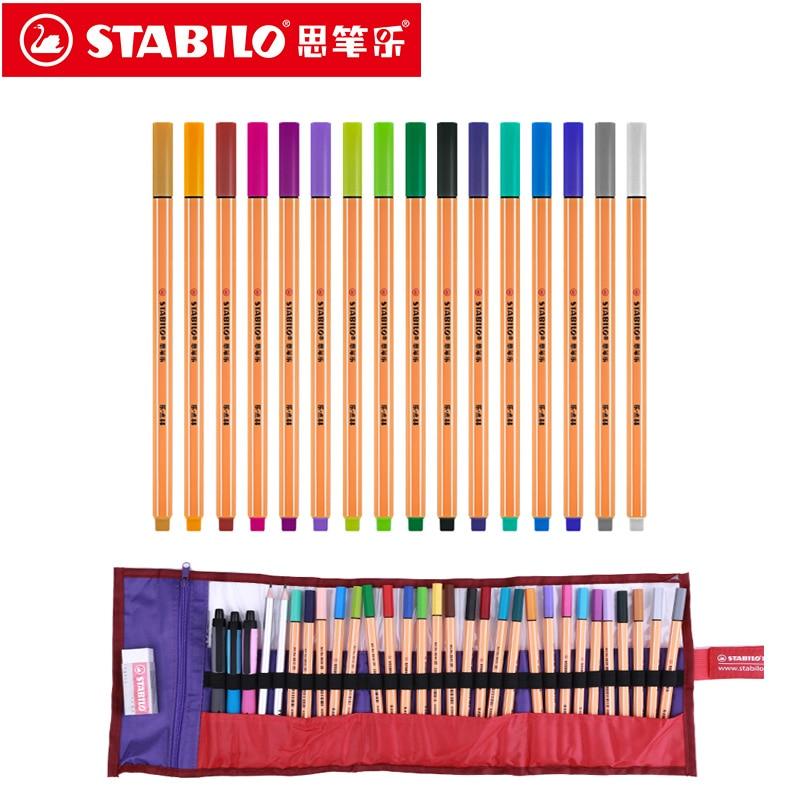 Ponto de stabilo 88 marcadores de arte 0.4mm caneta de fibra 25 cores ponta da agulha fineliner manga design desenho, desenho