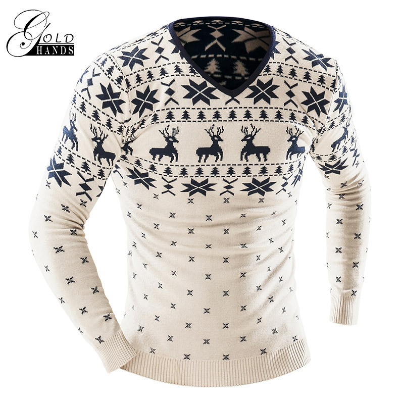 Gold Hands Mens Winter Autumn Wool Sweater With Thickening Printed Embroidery Deer Snowflake Tops Slim Male Street Outer Wear