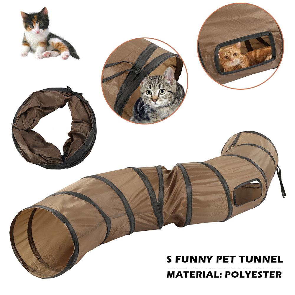 SFunny Pet Tunnel Cat Play Brown Foldable 1 Holes Kitten Toy Bulk Toys Rabbit
