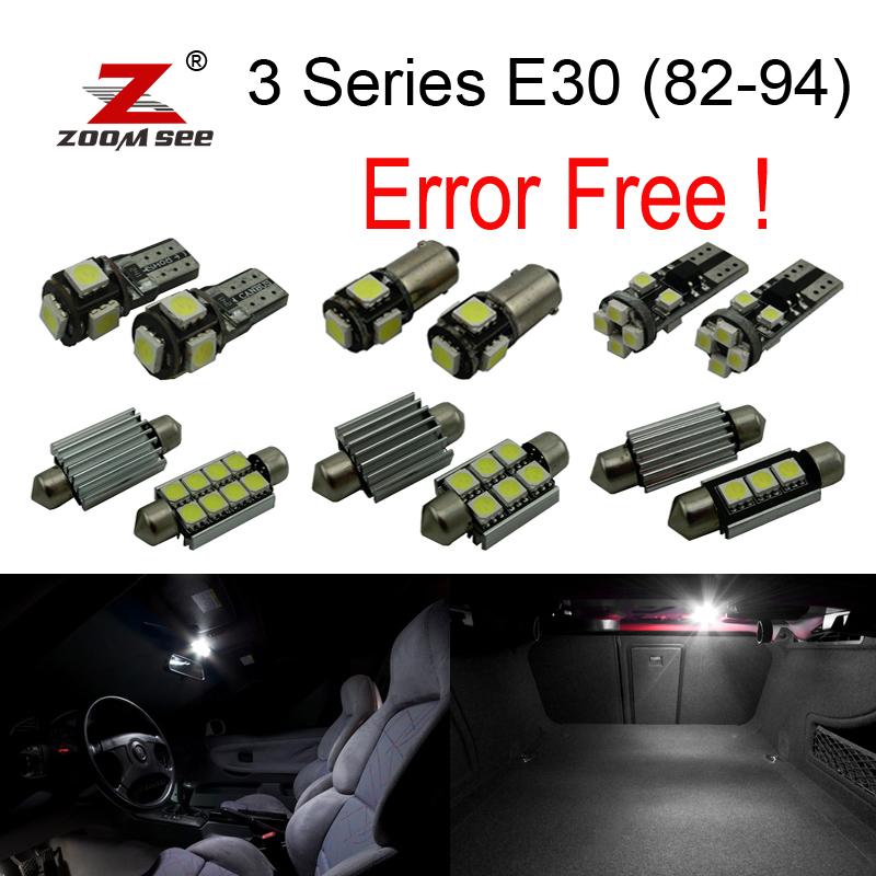 9pcs LED Interior Lights Kit + License plate bulb for BMW 3 series E30 M3 316i 318i 318is 320is 324td 325i (1982-1994) for bmw 3 series e36 318 328 323 325 front coilover strut camber plate top mount green drift front domlager top upper mount