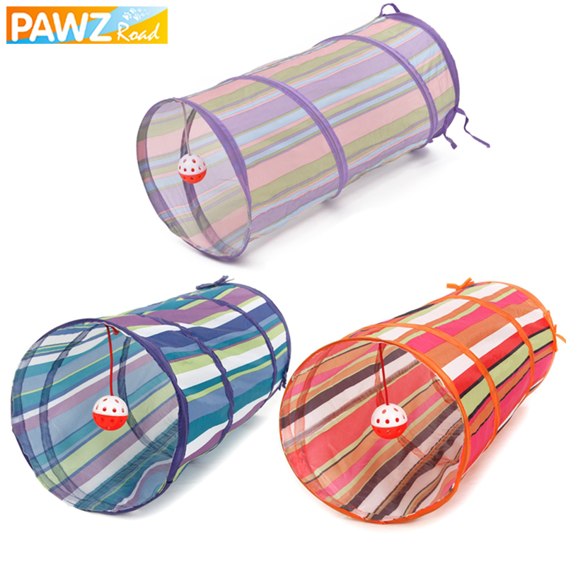 3 Colors Cat Tunnel Animal Play Toy Cat Puppy Training Collapsible Bulk Funny Cat Toys Product With Ball 60cm Long High Quality
