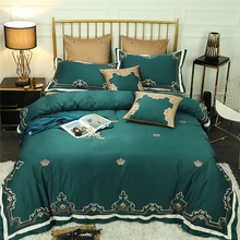 New Green Red 80S Egyptian cotton Luxury Gold Royal Embroidery Bedding Set Queen King Duvet Cover Bed sheet/Linen Pillowcases