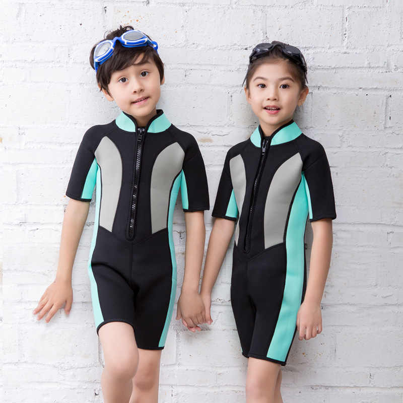 67a15e110 Hisea 2mm Neoprene Short Sleeves Kids Wetsuits Diving Suits for Boys/Girls  Children Rash Guards