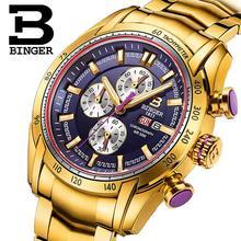 2017 font b watches b font men luxury brand Wristwatches BINGER Quartz Gold color font b